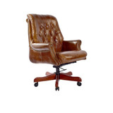 The Wall Street Bankers Office Chair is an eye catching statement piece, designed to bring a classic style to your office space. Upholstered in premium aged leather with a timber swivel base and adjustable seat height.  3/4