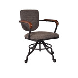The Desk Chair in Vintage Grey exudes a classical, vintage style. Upholstered in vintage brown faux leather with a steel frame and a versatile, extendable seat height. This chair will liven up your home office or study. 3/4 View