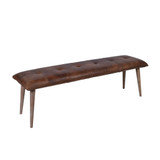 Our Aged Leather Bench Seat is a fusion of Scandinavian & modern design. This beauty will style back with any furniture pieces & can sit in any room or hallway. 3/4 view