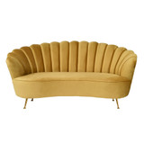 The Shell 2 seater sofa is an Art Deco inspired design to suit contemporary and traditional interiors. Upholstered in velvet for a glamorous look and feel. Choose from our selection of colours as shown. Dusty Cream