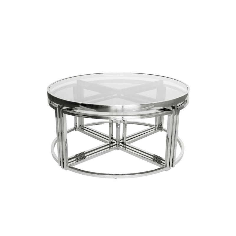Perugia Coffee Table Set Silver/Clear