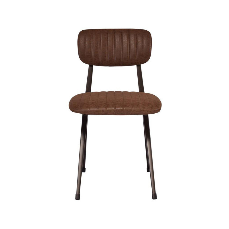 Our Clever Chair in Vintage Brown exudes a classical, vintage style. Upholstered in vintage brown faux leather with a steel frame that will liven up any office or dining space. Front view