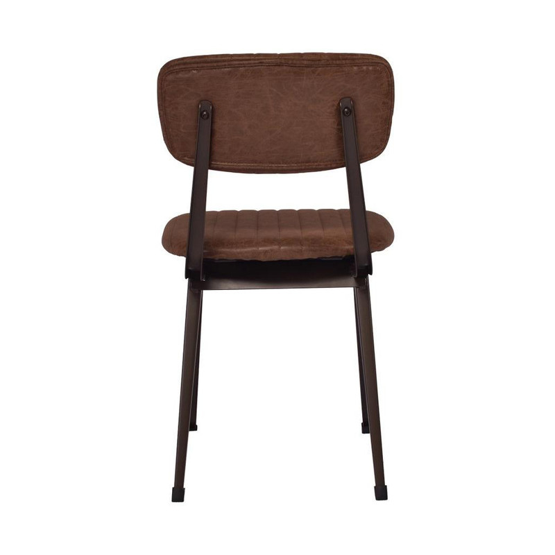 Our Clever Chair in Vintage Brown exudes a classical, vintage style. Upholstered in vintage brown faux leather with a steel frame that will liven up any office or dining space. Back view