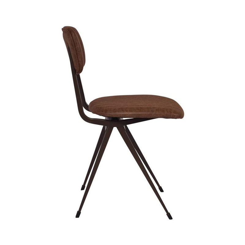 Our Clever Chair in Vintage Brown exudes a classical, vintage style. Upholstered in vintage brown faux leather with a steel frame that will liven up any office or dining space. Side view