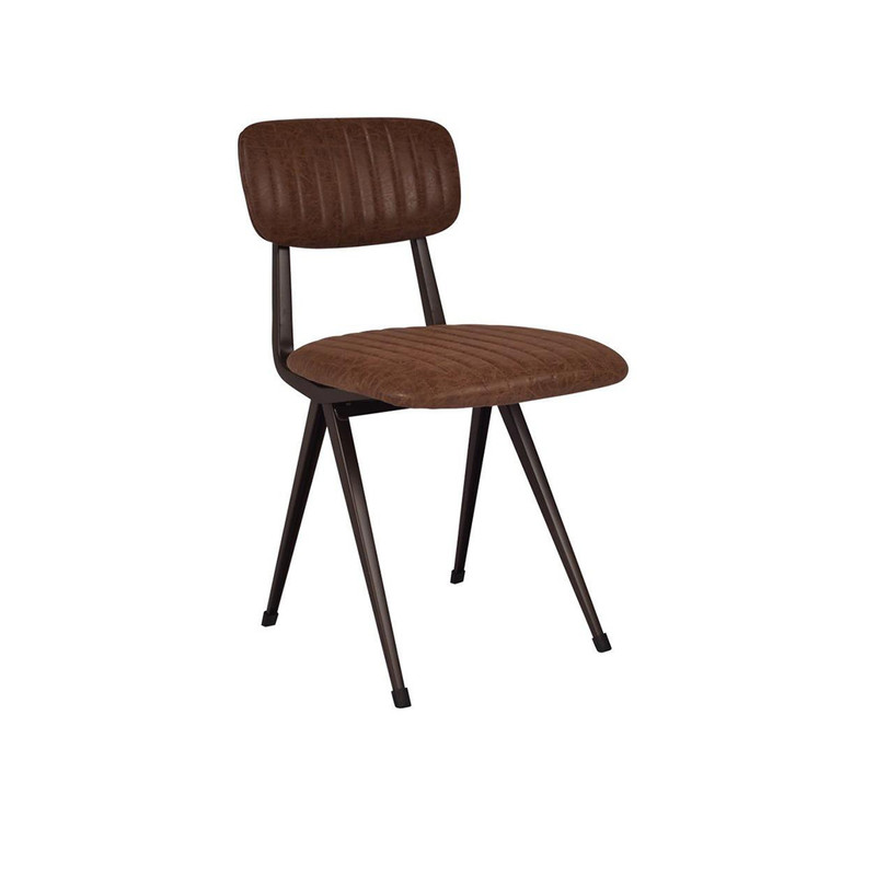 Our Clever Chair in Vintage Brown exudes a classical, vintage style. Upholstered in vintage brown faux leather with a steel frame that will liven up any office or dining space. 3/4 view