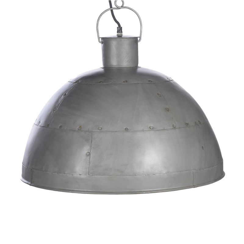 A riveted dome pendant in two rustic finishes. This pendant is designed to patina over time for a vintage aesthetic. Vintage grey. Isolated