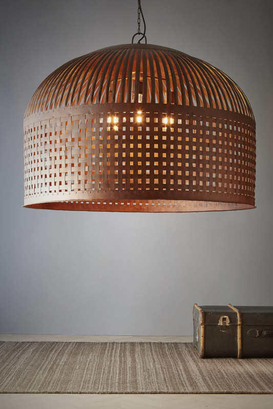 Esch features individual lengths of iron strips that are woven together and held in place by rivets, suspended beneath a graceful dome. Extra Large