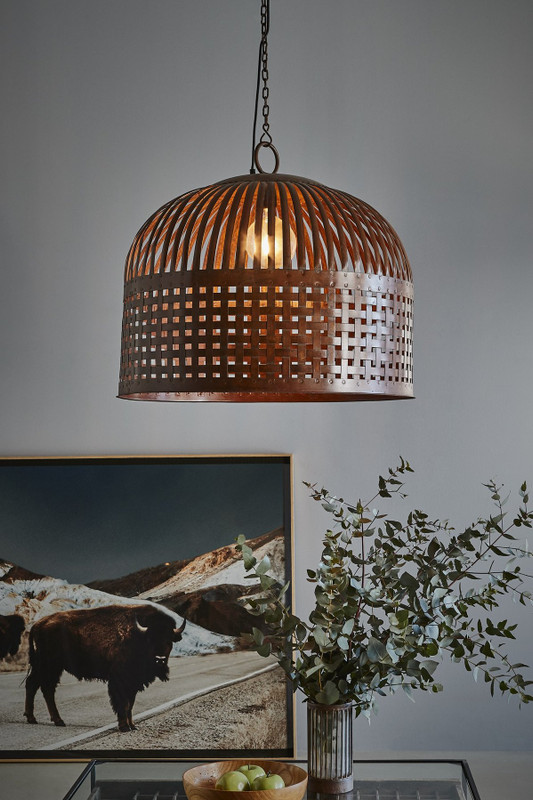 Esch features individual lengths of iron strips that are woven together and held in place by rivets, suspended beneath a graceful dome. Large