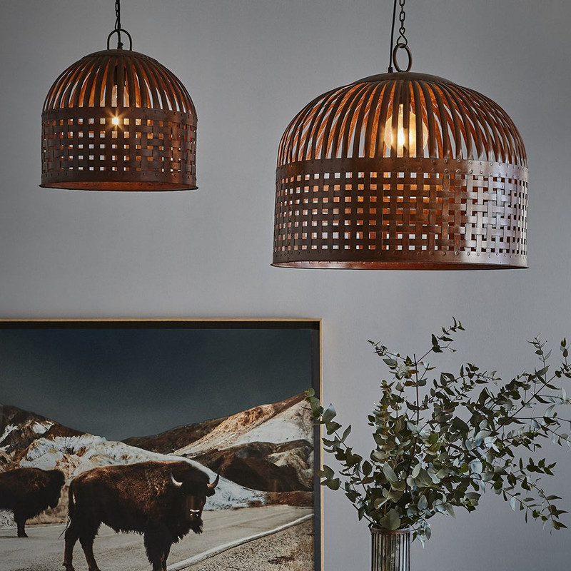 Esch features individual lengths of iron strips that are woven together and held in place by rivets, suspended beneath a graceful dome. Medium and Large