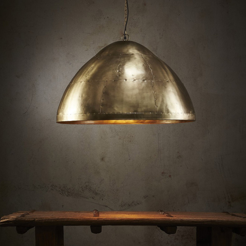 Inspired by the graceful lines and sturdy rivets of the WWII Mustang fighter plane, our range comes in warm Brass, shiny Zinc and vintage Copper. Totally hand-crafted and individually made, these statement pieces work equally well in both ultra-contemporary and industrial spaces.