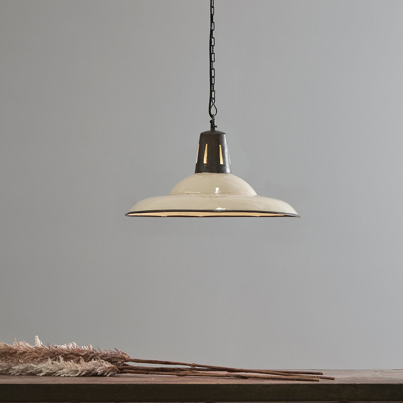 An enamel finished iron dish pendant light made exclusively in our workshops. Suitable for lower ceiling heights. White