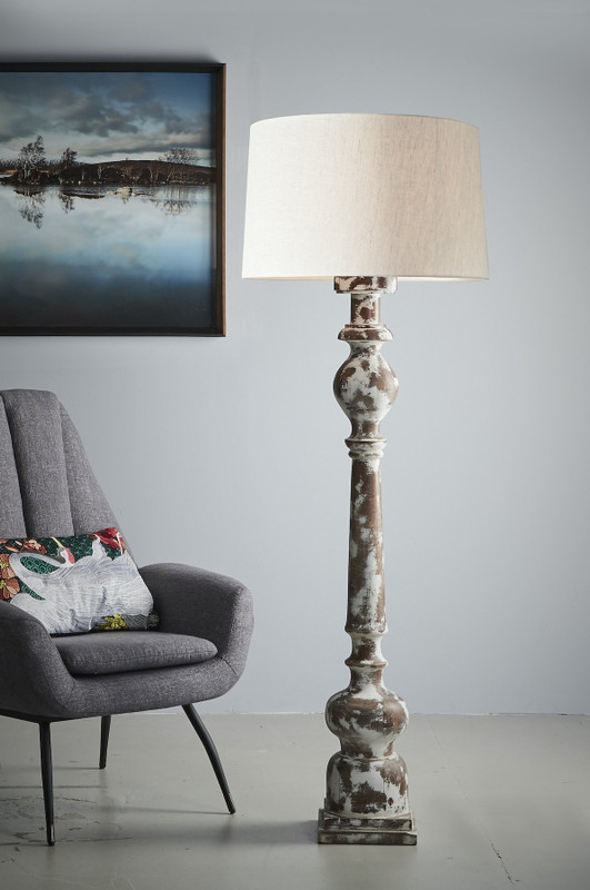 Barn Floor Lamp - Distressed White