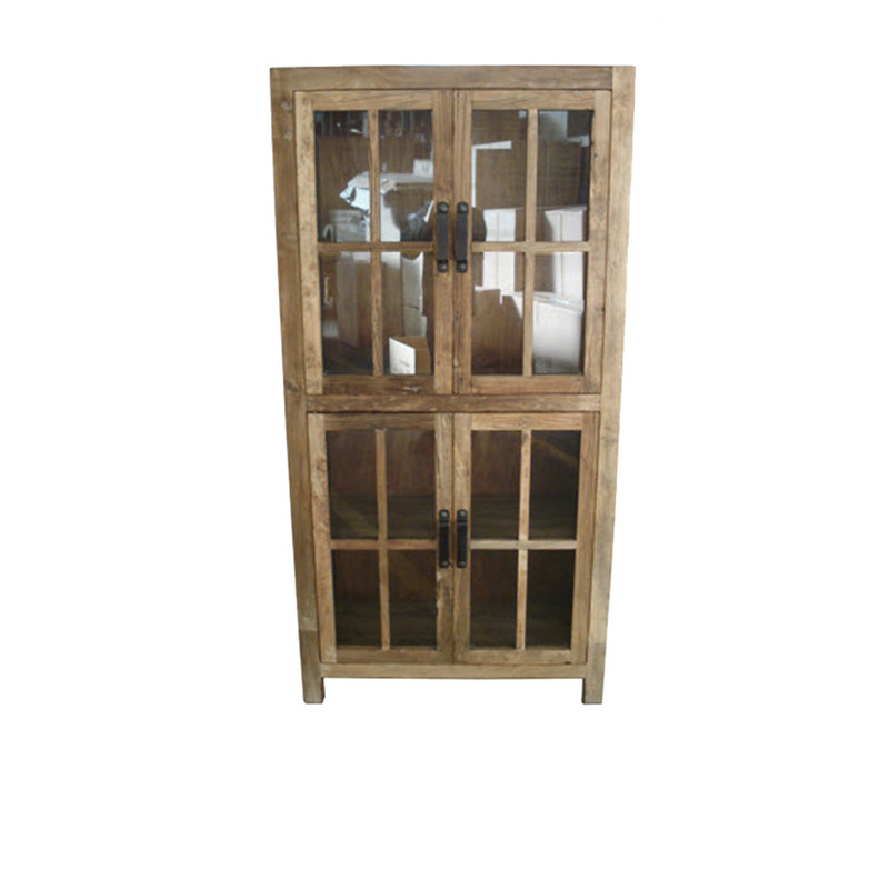 A versatile and handsome glass cabinet crafted from recycled elm wood.   A great addition to your kitchen for glass/tableware/linen, or your lounge/library room to display books and treasures.