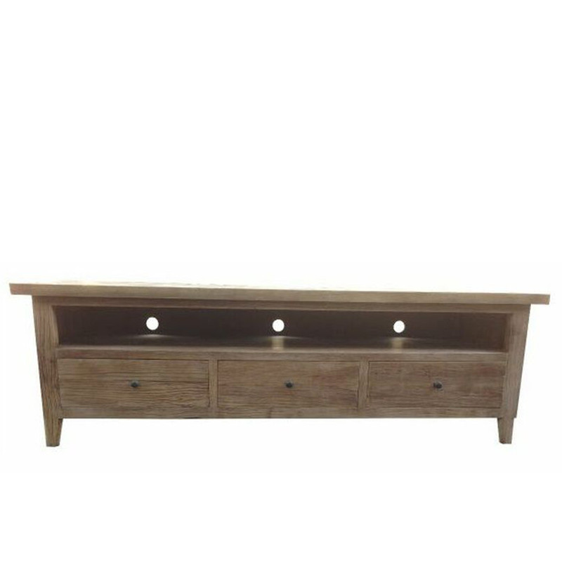 Watch TV in style with this beautiful recycled elm wood TV unit. The top of the unit is parquetry style.