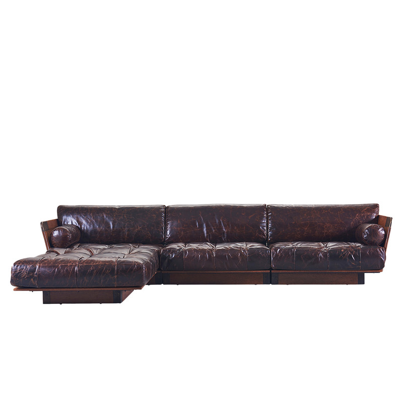 When it comes to the Cosmopolitan Sofa, no compromises have been made on luxury or comfort. This sectional sofa has a deep seat base for total relaxation. Available in a selection of Italian leathers, the Cosmopolitan sectional comprises of a left, right and centre chair and when an ottoman is added, this makes a luxuriant L-shaped setting. Front. Brown