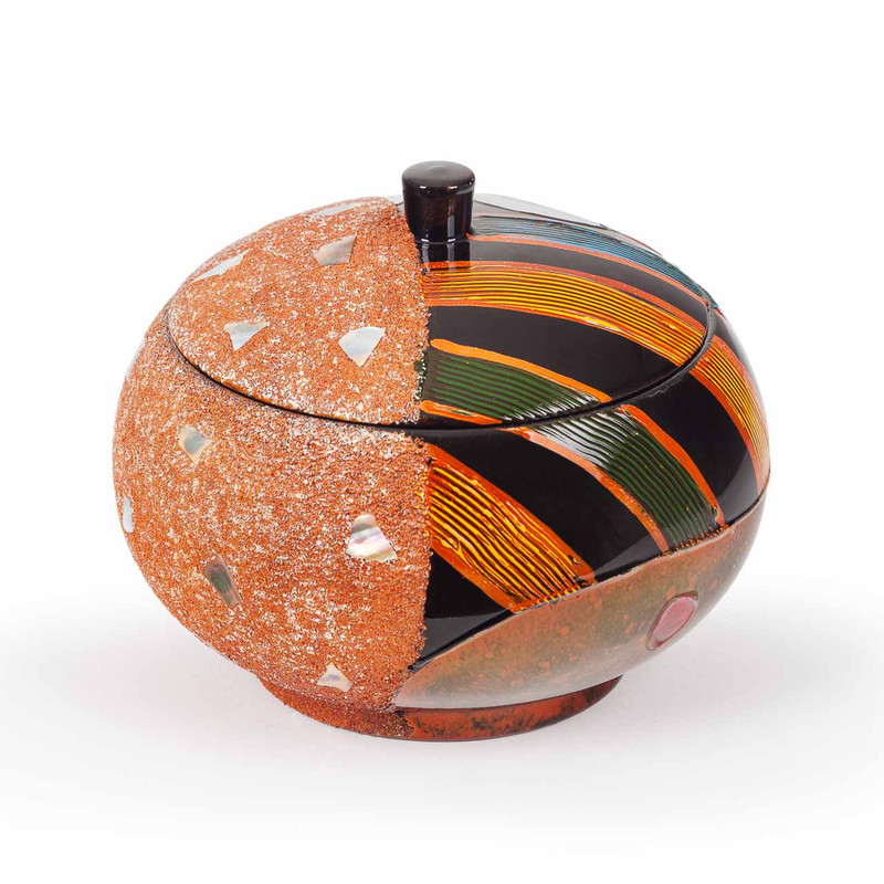 Orange and Black Lacquer Oriental Storage Bowl