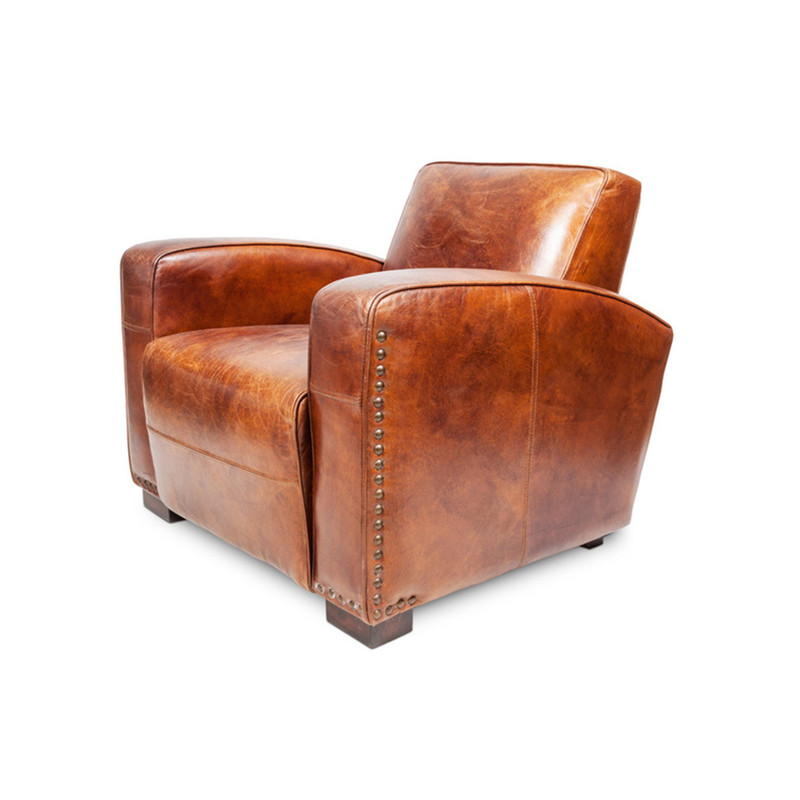 Oxley Club Chair - rich brown aged leather Gentleman's armchair. Channel the opulence of the deco era with the deep cushions, hand aged full grain leather and brass stud detailing of the Oxley Club Chair. Perfect as a library armchair, reading chair, or whiskey lounge armchair. Rear view.