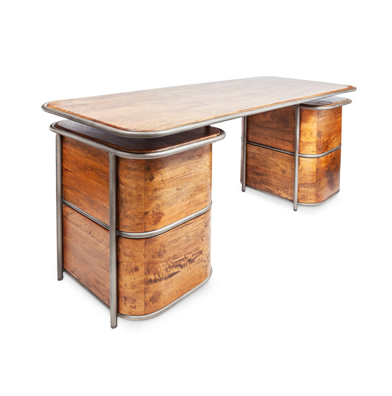Art Deco Desk - feeling like a little luxury in the workplace? This beautiful timber double pedestal desk with aged steel detail and drawer handles will be a talking piece, and has plenty of space for making those important deals. Deco meets soft industrial in this feature desk. Three quarter view - rear.