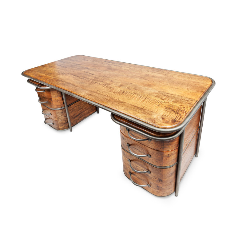 Art Deco Desk - feeling like a little luxury in the workplace? This beautiful timber double pedestal desk with aged steel detail and drawer handles will be a talking piece, and has plenty of space for making those important deals. Deco meets soft industrial in this feature desk. Three quarter view - top.