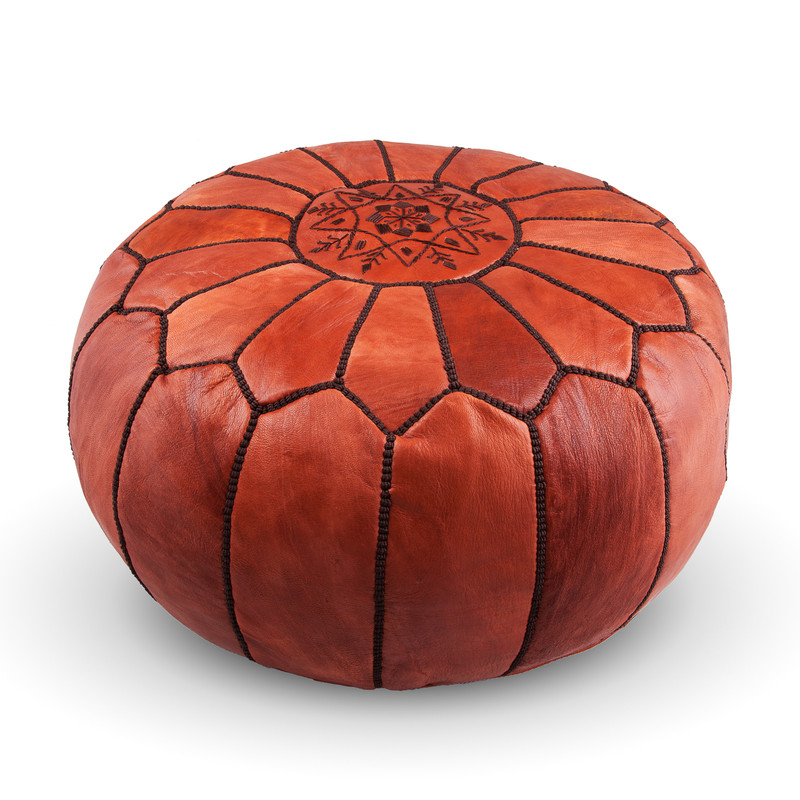 Moroccan Leather Pouf Natural Brown