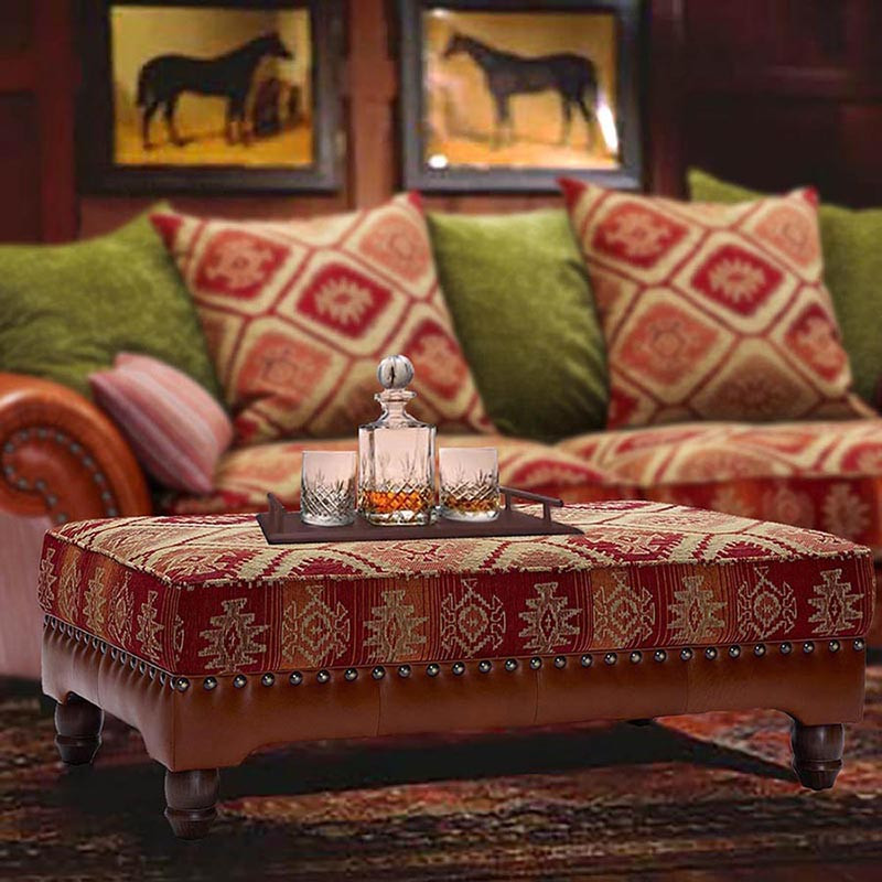 The Eastwood vintage-style sofa, pictured here with a matching rectangular Ottoman.