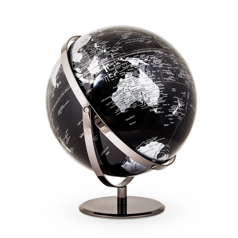 World Globe Black and Silver - An unusual gloss black and silver world globe double hinged for full globe rotation and angling. The map features the Date Line, hemispheres and has detailed information on capitals and place names, and makes the perfect gift for him.