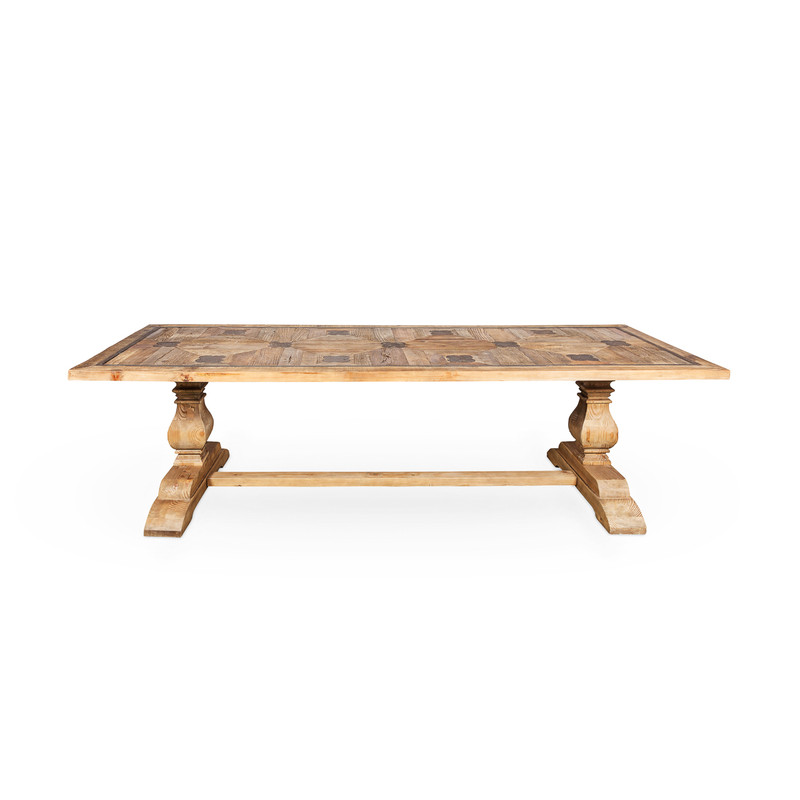La French Recycled Elm Dining Table - large communal rustic dining table, side view.