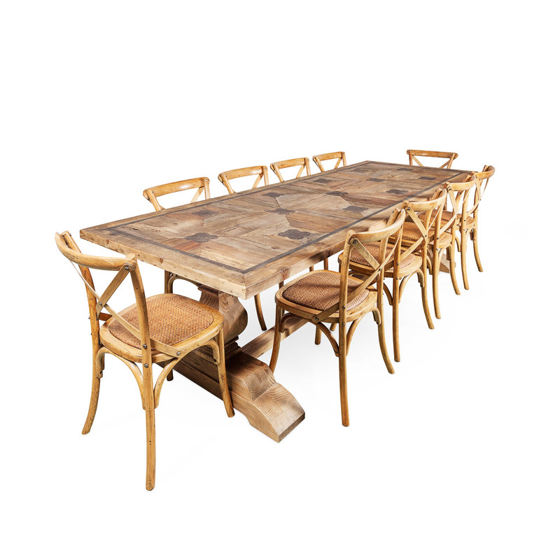 La French Recycled Elm Dining Table with cross back chairs - large ten to twelve seat dining table.