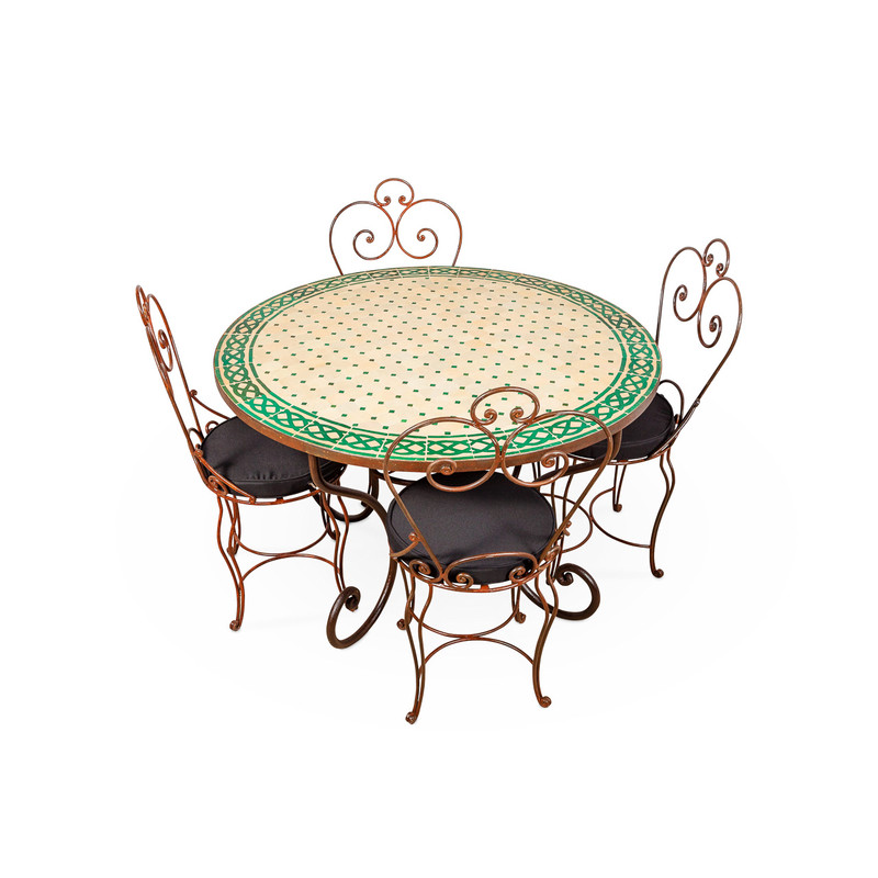 Mosaic Tile Outdoor Dining Table Round Green