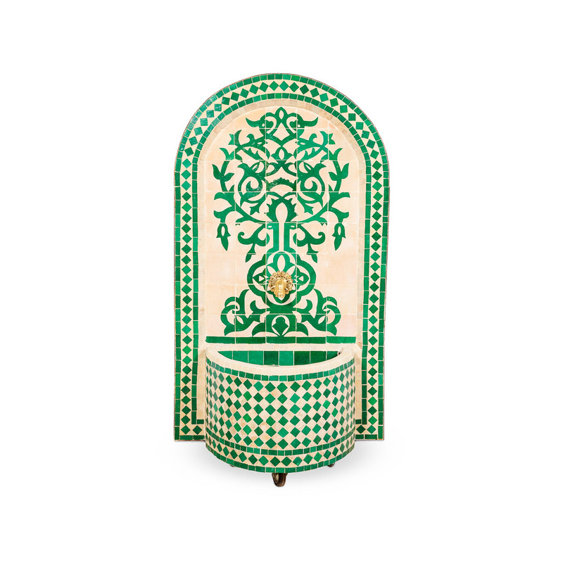 Moroccan Tile Water Fountain Green