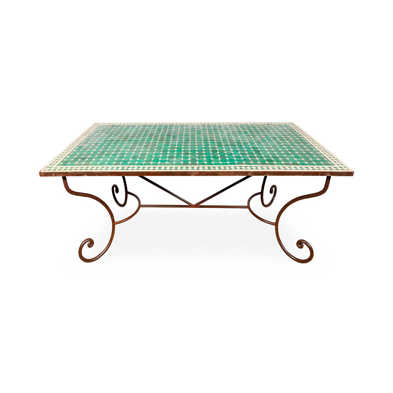 Mosaic Tile Outdoor Dining Table Green