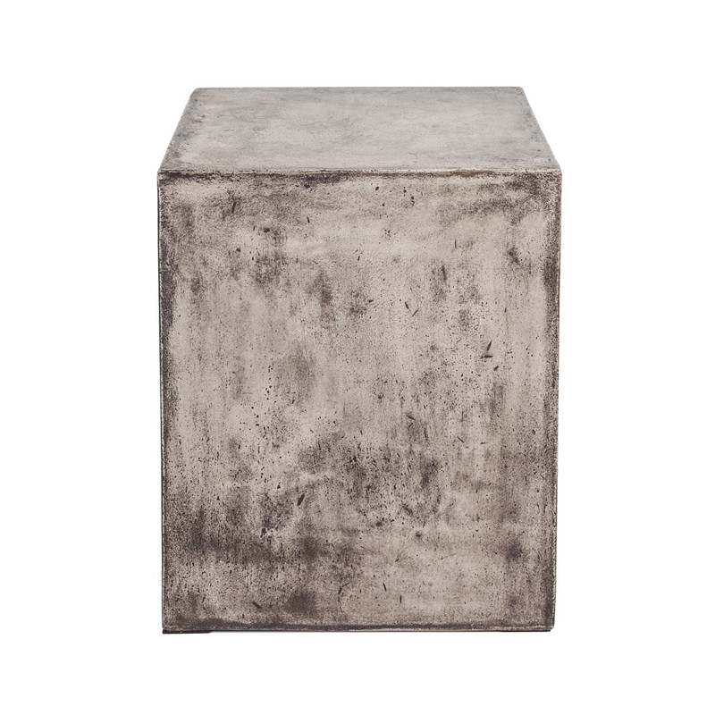 Concrete Look Side Table - A concrete side table or stool that would fit easily into any industrial or contemporary setting. Our Stone collection is made from fibre reinforced cement - a composite material of natural fibres, cement stone powder and a natural, latex based waterproofing agent making them extremely durable for Australian outdoor conditions. Look stunning indoors or outdoors and suitable for commercial use. Add style to your outdoor setting. Side view.