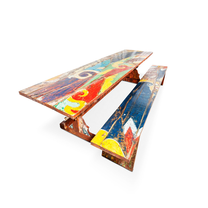 boat timber recycled teak timber table