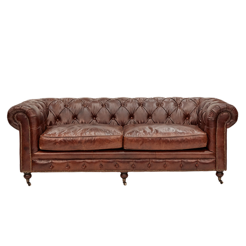 Hampshire Court Vintage Leather Chesterfield Sofa 3 Seater - add classic luxury with this vintage leather three seat chesterfield sofa. Comfort and vintage style combine to add character to your favourite space. Front view.