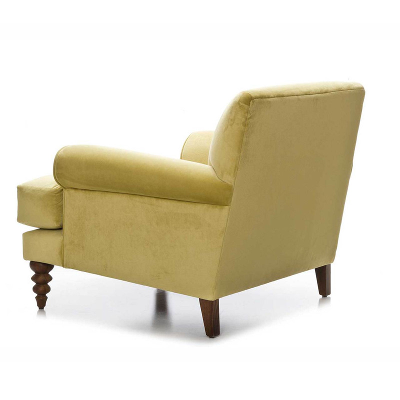 Coogee Chair in Citrine Velvet - sink in to this comfortable Australian made custom designed armchair. With a variety of fabrics and colours available, and delivery in 6-8 weeks, this is the perfect addition to your living space. Rear view.