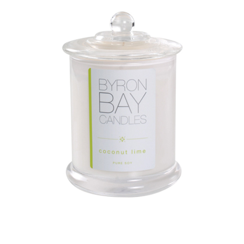 Byron Bay Candle Coconut Lime - Classic summer beach fragrance, an invigorating blend of fresh coconut, lime and verbena with rich undertones of dreamy vanilla. An irresistible favourite. Pure soy scented candle.