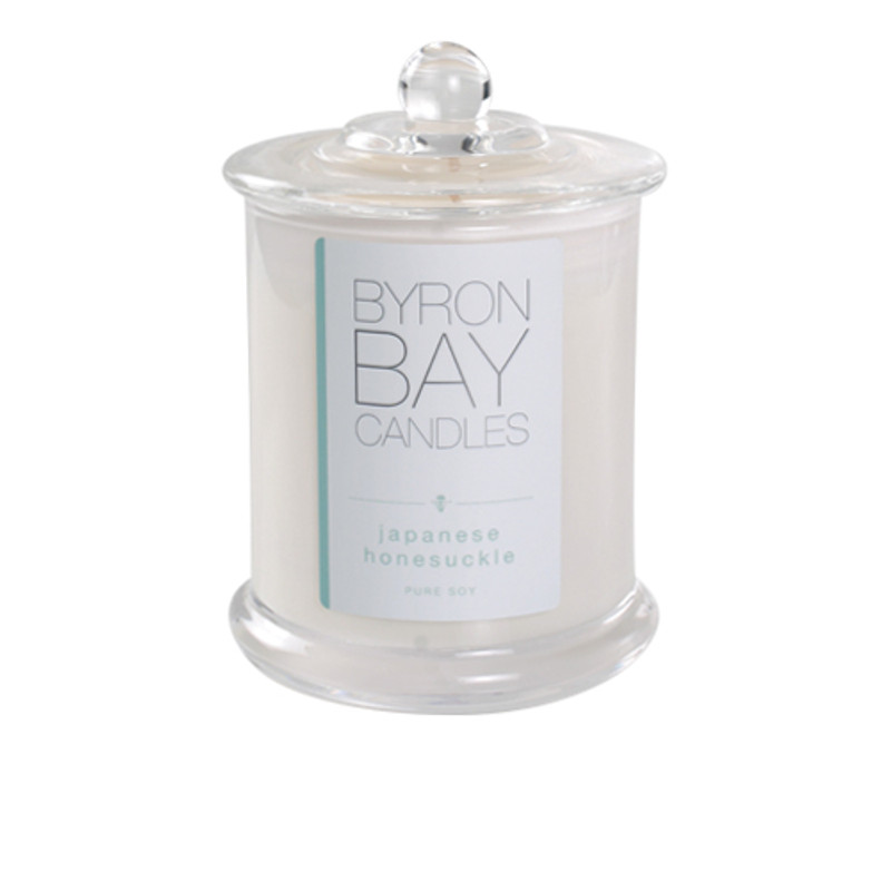 Byron Bay Candle Japanese Honeysuckle - Sweetly intoxicating fruity floral blend capturing the light-hearted fragrance of the delightful honeysuckle vine. Pure soy scented candle.