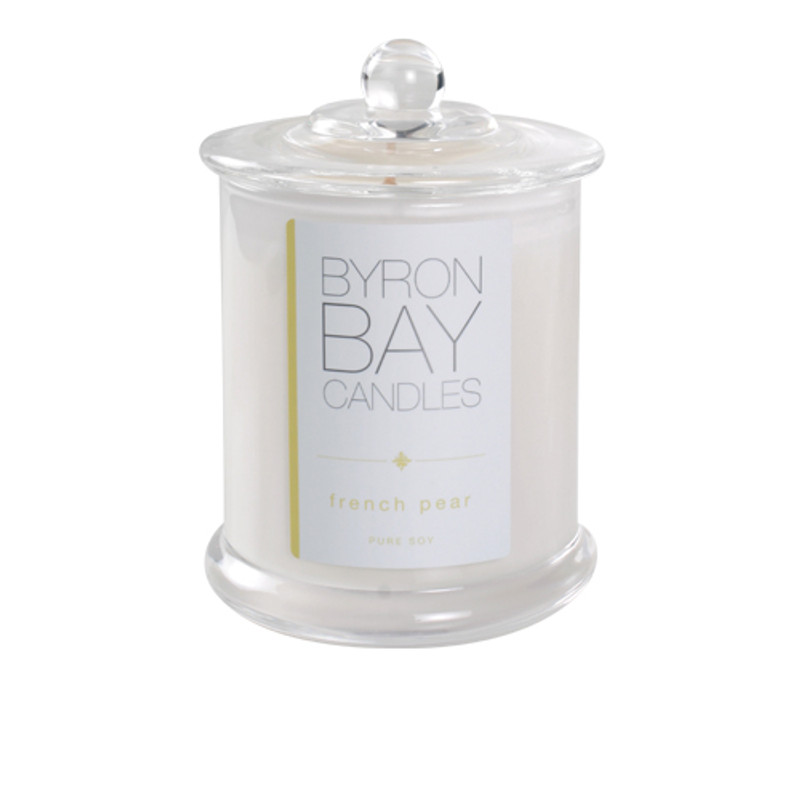 Byron Bay Candle French Pear - A richly layered fragrance with notes of lush ripe pears, laced with deliciously desert like spices. Pure soy scented candle.