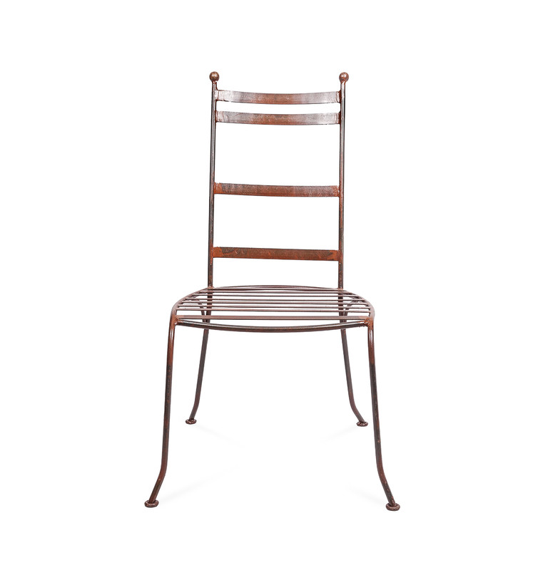 Valerie Chair - hand shaped Moroccan wrought iron dining chair, perfectly suited to indoor or outdoor use. Front view.