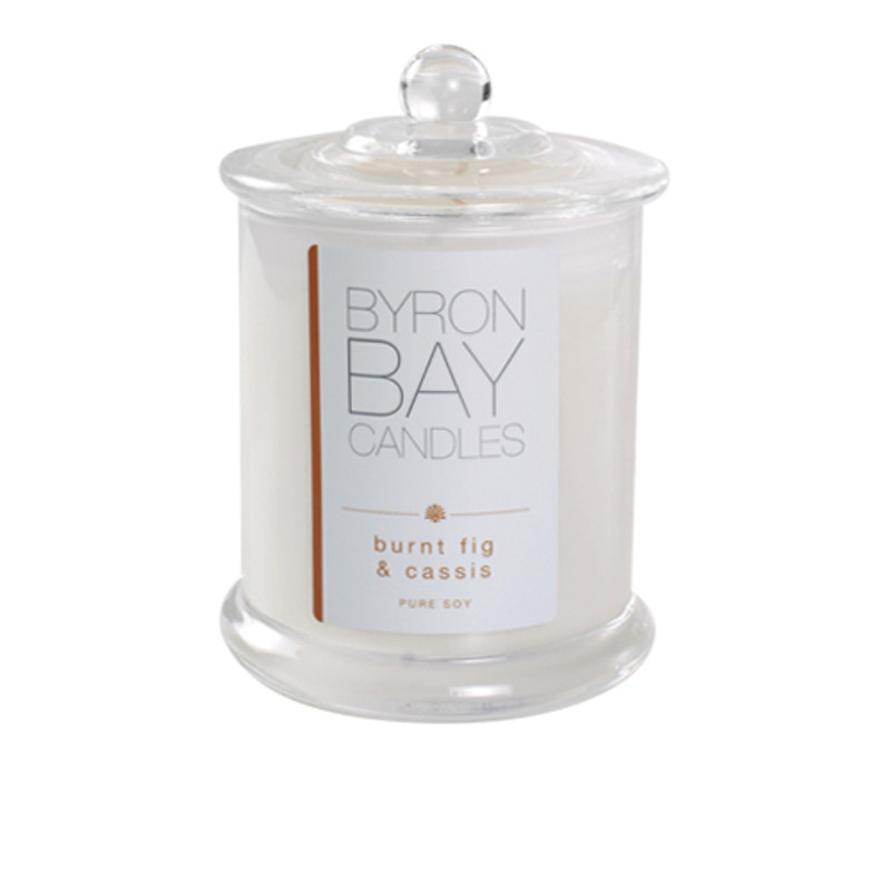 Byron Bay Candle Burnt Fig & Cassis - A rich spicy fragrance featuring sun warmed figs enhanced with delicate cassis and warm, sultry notes of cedar wood, cinnamon and hyacinth, like a good mulled wine. Pure Soy Candle.