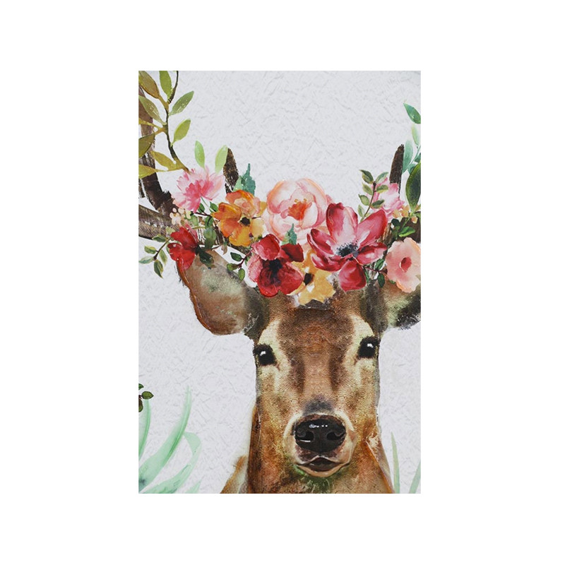 Floral Deer Canvas - vibrant wall art featuring a deer head with blossoms and buds will add a splash of colour to your entryway or favourite space. Deer head canvas wall art. Detail.
