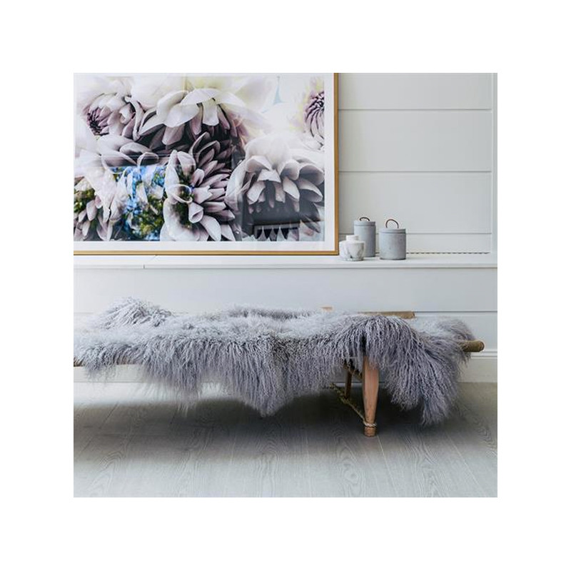 Mongolian Sheepskin Throw Light Grey. Add warmth, texture and luxury to your space with this naturally silky soft sheepskin throw rug in light grey. Style view.