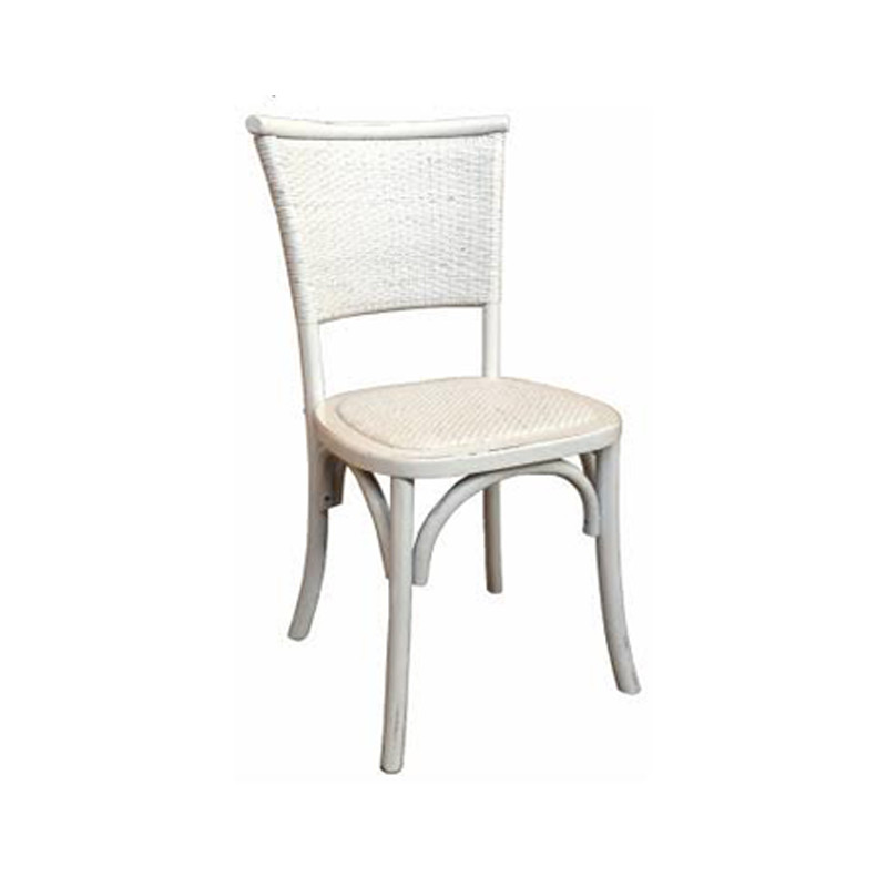 Our Provincial Timber and Wicker Dining Chair in White brings a touch of the Hamptons and French Provincial styling to your dining setting. With its rubbed back timber, wicker back and seat, and classic design, this dining chair brings character and warmth to your dining space.