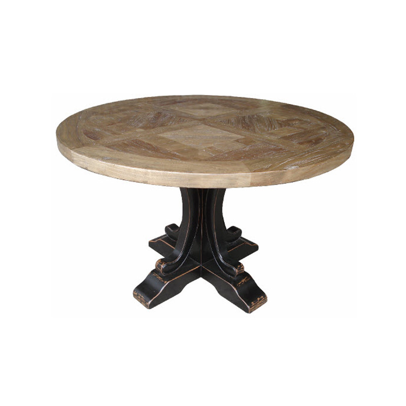 Ronde Dining Table Black - improve your next dinner party with this parquet top feature table in reclaimed Elm, perfect for Hamptons, French Provincial and Country design themes. Each table has the natural grain and character of the hand crafted recycled timber parquetry top, so no two pieces are the same. Available with white, black, and natural base. Black base shown.