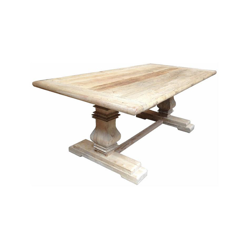 Barcelona Dining Table - this stunning recycled Elm dining table with turned legs and stretcher lends itself to long dinner parties and feasts with 8 to 10 of your closest friends. Perfect for upmarket Country, Hamptons, and French Provincial spaces.
