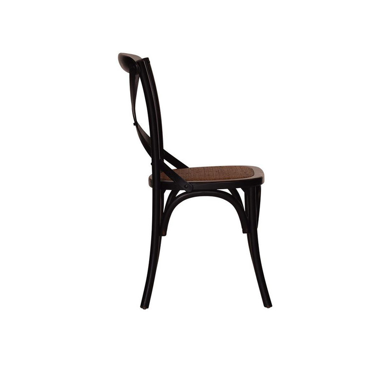 Antique Black Crossback Chair - classic cross back chair design perfect for French Provincial or Industrial themes. Suitable for residential or commercial dining settings. A simple black timber cross strap adds character and charm to this timeless crossback dining chair. Side view.