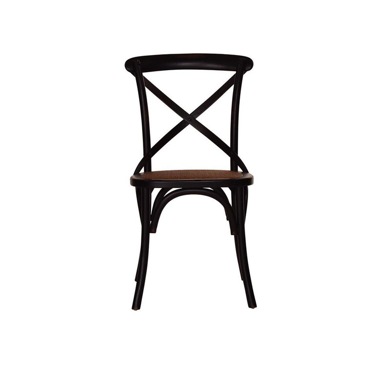 Antique Black Crossback Chair - classic cross back chair design perfect for French Provincial or Industrial themes. Suitable for residential or commercial dining settings. A simple black timber cross strap adds character and charm to this timeless crossback dining chair. Front view.