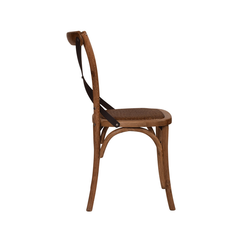 Crossback Chair Oak Dark Aged Metal Strap  - classic cross back chair design perfect for Hamptons, French Provincial, or Industrial themes. Suitable for residential or commercial dining settings. Aged dark metal strap adds character and charm to this timeless crossback dining chair. Side view.