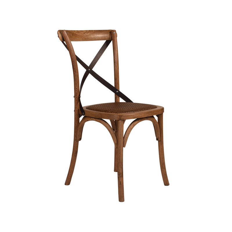 Crossback Chair Oak Dark Aged Metal Strap  - classic cross back chair design perfect for Hamptons, French Provincial, or Industrial themes. Suitable for residential or commercial dining settings. Aged dark metal strap adds character and charm to this timeless crossback dining chair. Three quarter view.