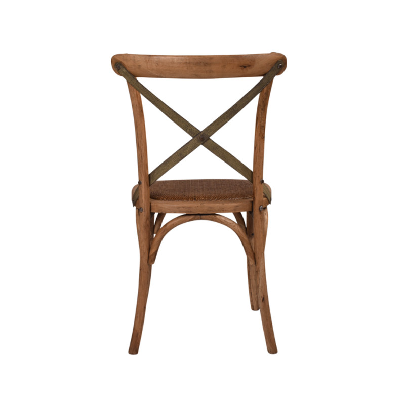 Crossback Chair Oak Grey Aged Metal Strap   - classic cross back chair design perfect for Hamptons, French Provincial, or Industrial themes. Suitable for residential or commercial settings. Verdi-green grey metal strap adds character and charm to this timeless crossback dining chair. Rear view.